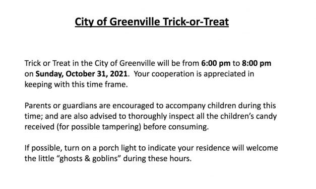 City of Greenville Trick-or-Treat 2021